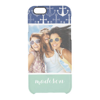 Fun Anchor Pattern | Your Photo & Name Clear iPhone 6/6S Case