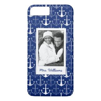 Fun Anchor Pattern | Your Photo & Name iPhone 7 Plus Case