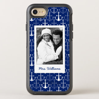 Fun Anchor Pattern | Your Photo & Name OtterBox Symmetry iPhone 7 Case