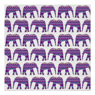 Fun and Bold Chevron Elephants on White Poster