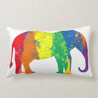 Fun and Colorful Abstract Rainbow Elephant Throw Pillow