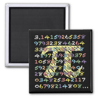 Fun and Colorful Chalkboard-Style Pi Calculated 2 Inch Square Magnet