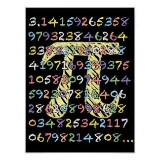 Fun and Colorful Chalkboard-Style Pi Calculated Poster