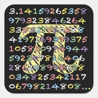 Fun and Colorful Chalkboard-Style Pi Calculated Square Sticker