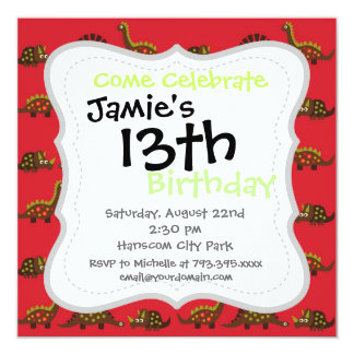 Fun and Colorful Dinosaur Pattern Invitation