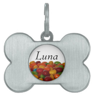 Fun and colorful jelly beans pet ID tag