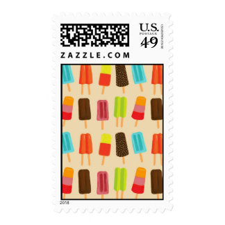 Fun and Colorful Popsicles Retro Pattern Postage