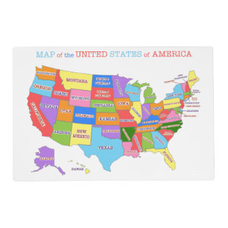 Fun and Colorful Rainbow Map of the USA Laminated Placemat