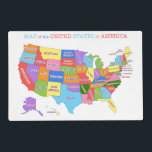"""Fun and Colorful Rainbow Map of the USA Placemat<br><div class=""""desc"""">A fun and colorful design that features the map of the United States rendered in a rainbow of colors. A great way for kids to learn the geography of the USA.</div>"""