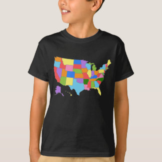 Fun and Colorful Rainbow Map of the USA T-Shirt