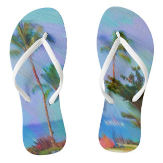 Fun and Colorful Tropical Beach Flip Flops