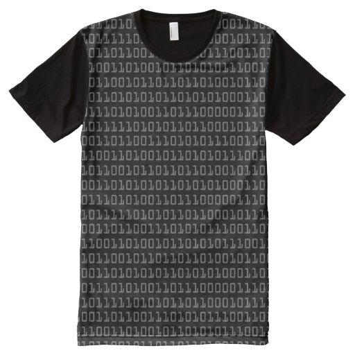 Fun and cool binary code pattern all over print t shirt for Vista print tee shirt