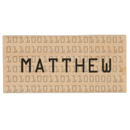 Fun and Cool Binary Code Personalized Wood Flash Drive