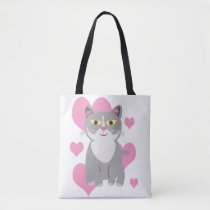 Fun and Cute Grey Cat Love Cartoon Tote Bag