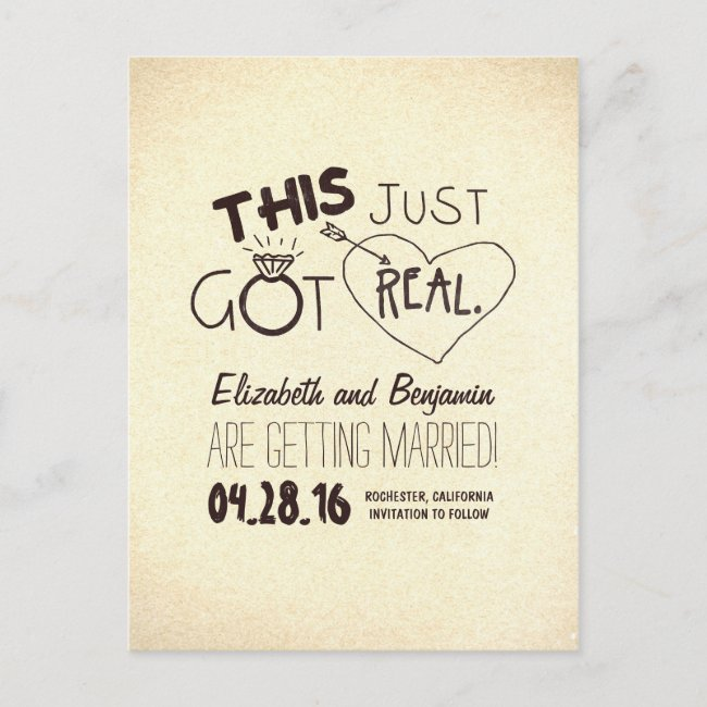 fun and cute save the date - THIS JUST GOT REAL! Announcement Postcard