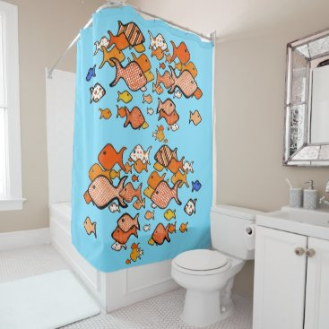 Fun and Cute School of Fish Shower Curtain