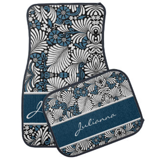 Fun and Feminine Blue and White Floral Car Floor Mat