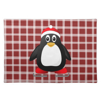 Fun and Festive Cartoon Penguin Christmas Placemat