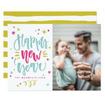Fun and Festive Modern Calligraphy Happy New Year Card