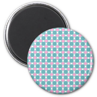 Fun and Fresh Teal Circles and Pink Flowers Magnet