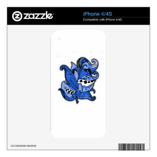 Fun and Funky Feather Series Blue Doodle iPhone 4S Skin