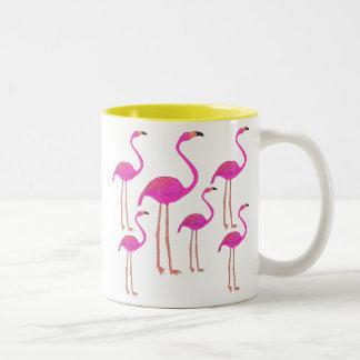 Fun and Funky Flamingos Two-Tone Coffee Mug