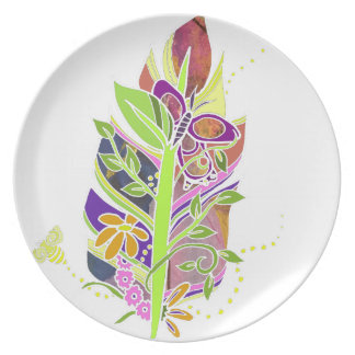 Fun and Funky Pollinator Inspired Nature Feather Dinner Plate