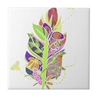 Fun and Funky Pollinator Inspired Nature Feather Tile