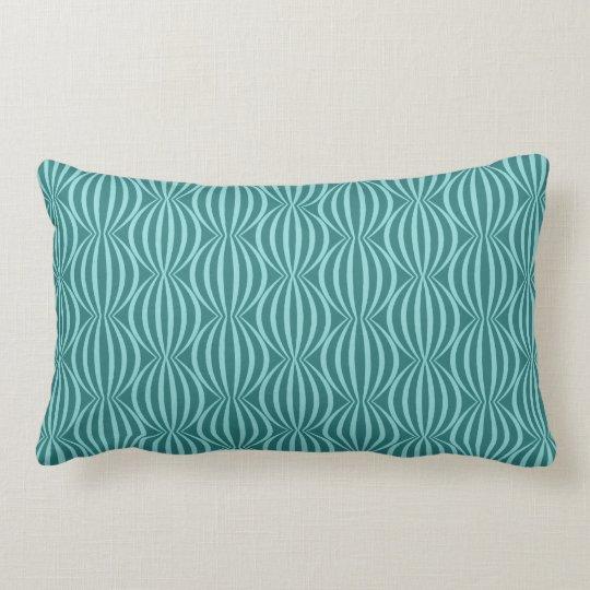 Fun and Modern Aqua Blue Circle Pattern Lumbar Pillow