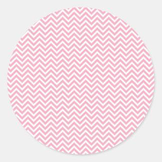 Fun and Modern Pink and White Chevron Pattern Classic Round Sticker