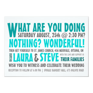 Fun And Modern Wedding Invitation Any Color