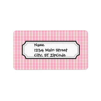 Fun and Pretty Pink Summer Time Plaid Pattern Label