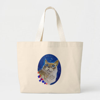Fun and Sassy Cat Portrait Large Tote Bag
