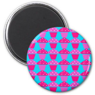 Fun and Sassy Hot Pink and Purple Cupcakes 2 Inch Round Magnet