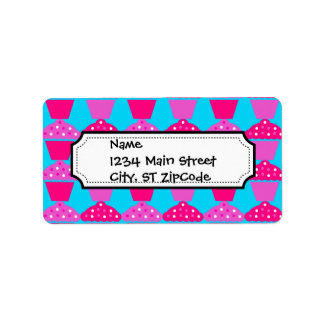 Fun and Sassy Hot Pink and Purple Cupcakes Address Label