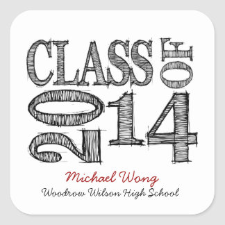 Fun and Simple Pen Sketch Class of 2014 Stickers