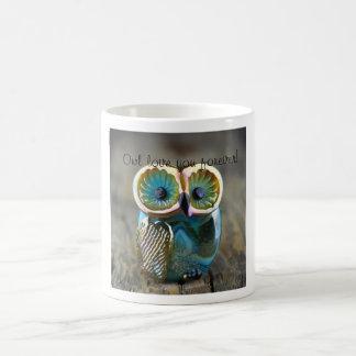 Fun and whimsical lampwork owl bead mug