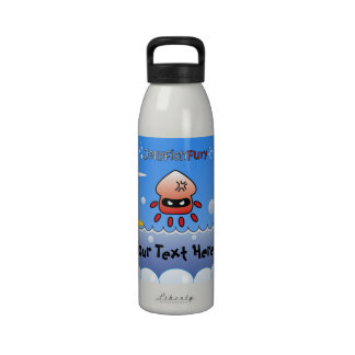 Fun Angry Red Jellyfish with Ocean, Island and Sun Reusable Water Bottles