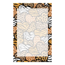 Fun animal pattern hearts stationery