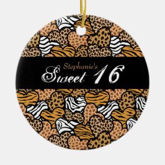 Fun animal pattern hearts Sweet 16 Ornament