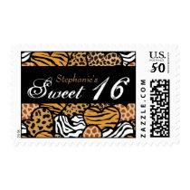 Fun animal pattern hearts Sweet 16 postage
