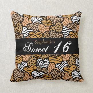 Fun animal pattern hearts Sweet Sixteen Pillow