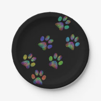 Fun animal paw prints. paper plate