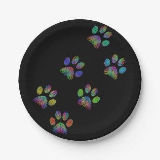 Fun animal paw prints. paper plate