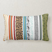 Fun animal print stripes floral patterns lumbar pillow