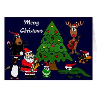 Fun Animals and Music Christmas Card