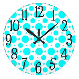 Fun Aqua and White Polka Dots Large Clock