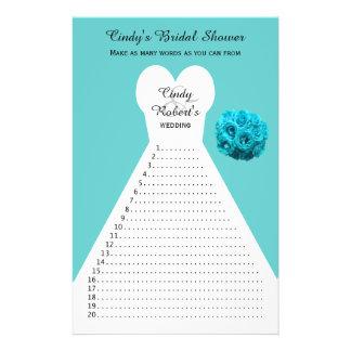 Fun Aqua Bridal Shower Word Games Full Color Flyer