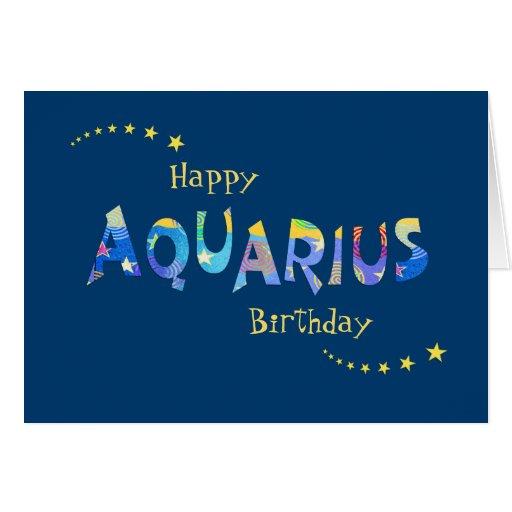 Fun AQUARIUS Zodiac Birth Sign Birthday Greeting Card