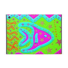 Fun Aquatic Fish Stars Colorful Kids Doodle Covers For iPad Mini
